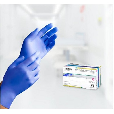 GLOVE EXAM NITRILE PF SMALL BLUE 200/BX TRONEX